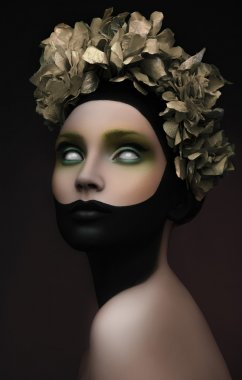 Creative dark makeup with gold flowers on her head