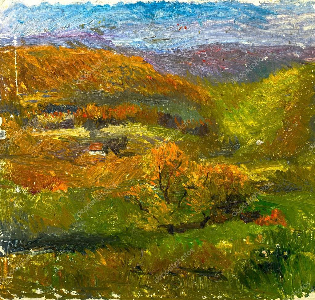 Фотообои Красивая Оригинальная картина маслом осенний пейзаж на холсте