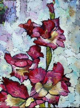 Oil painting still life with  purple  irises flowers