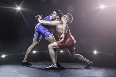 Freestyle wrestlers in action