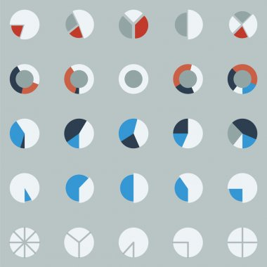 Segment pie chart icon set ,circle diagrams, business icons.