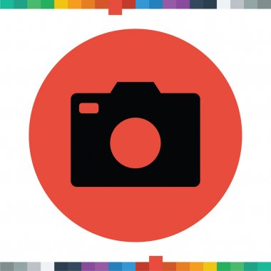 Flat DSLR camera icon in a circle.