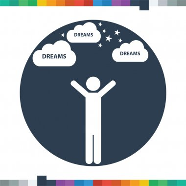 Flat male stick figure reaching with both hands for his dreams icon in a circle.