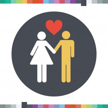 Interracial couple icon.