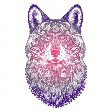 Ornamental Lilac Tattoo Wolf Head
