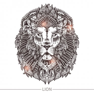 Ornamental Tattoo Lion Head