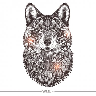 Ornamental Tattoo Wolf Head
