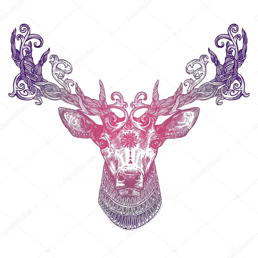 Tete De Cerf Ornementales Tatouage Lilas Image Vectorielle
