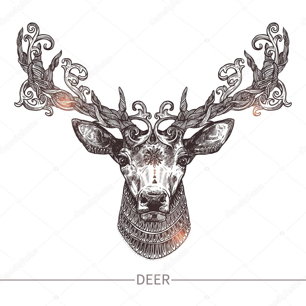 Tête De Cerf De Tatouage Ornemental Image Vectorielle