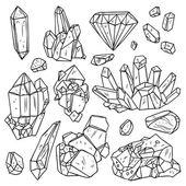 Fényképek Kézzel rajzolt kristályok és ásványok