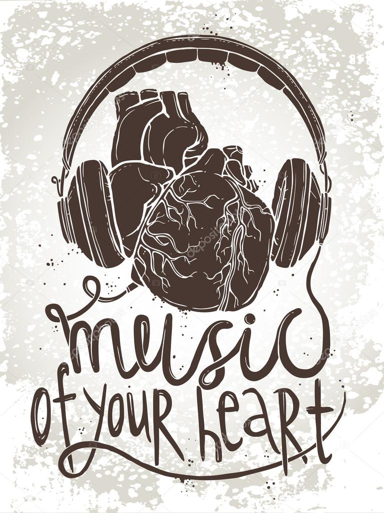 Anatomical Heart With Headphones Stock Vector Alexrockheart