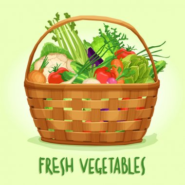 Basket with fresh vegetables