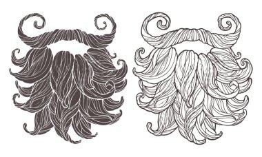 hand drawn beards set