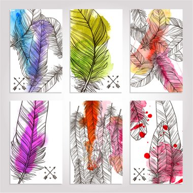 Collection Of Cards With Hand Drawn Illustrations Of Feathers. Watercolor Trendy Banners With Feathers clip art vector