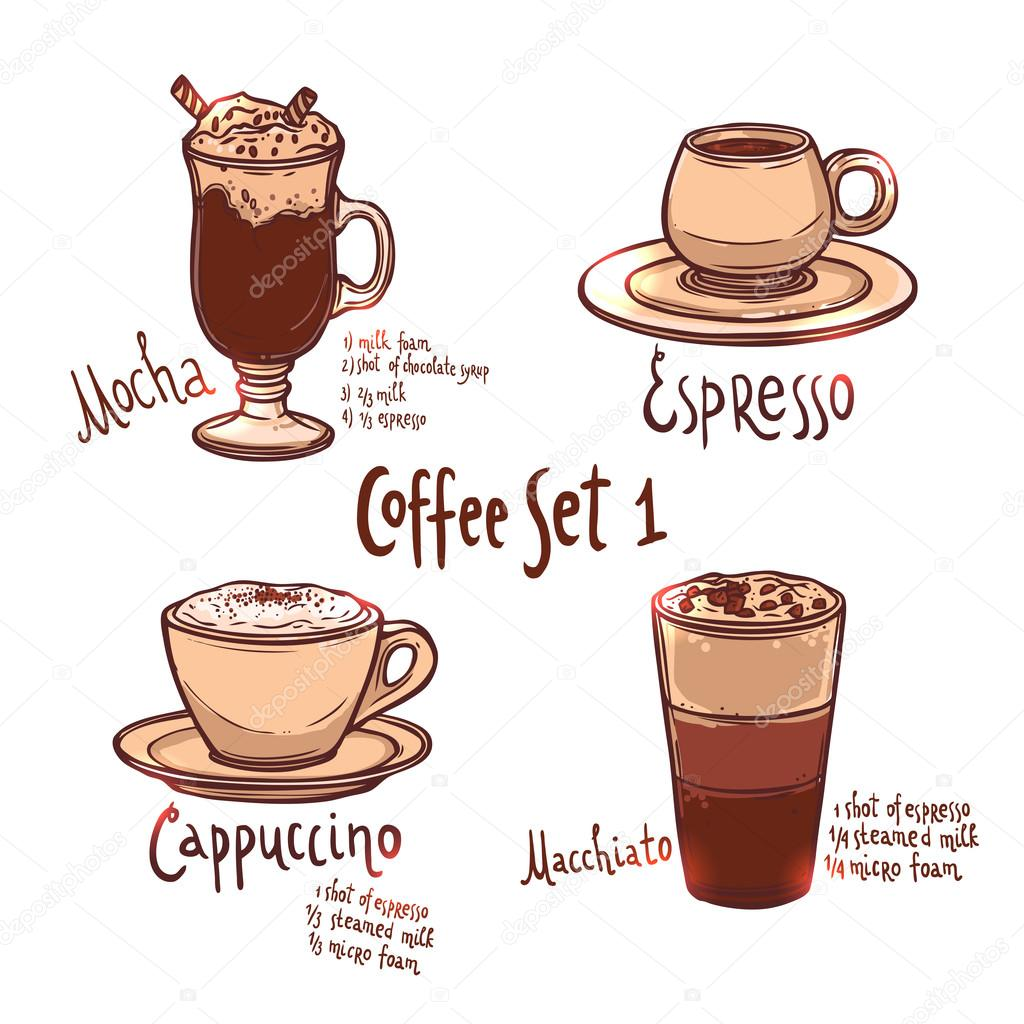Tazze di diversi tipi di caff vettoriali stock alexrockheart 82688644 - Diversi tipi di caffe ...