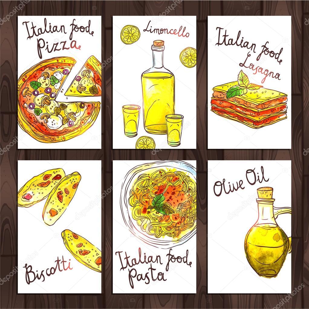 イタリア料理でのカード コレクション ストックベクター