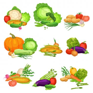 Collection Of Flat Fresh Vegetables, Still Life Illustrations Of Vegetables, Healthy Lifestyle And Vegetarian Food Concept clip art vector