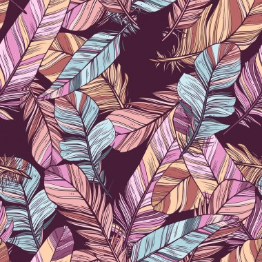 Feathers Color Seamless Pattern
