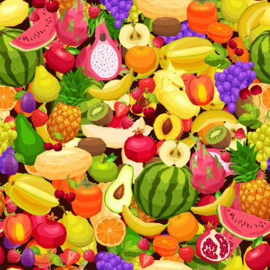 Seamless Pattern With Different Fruits