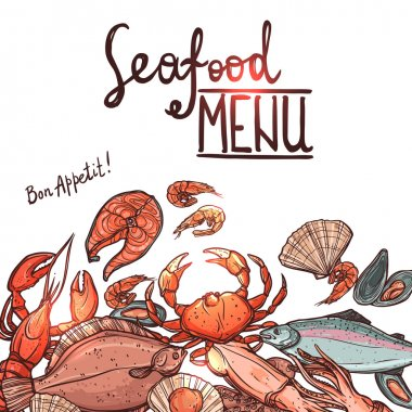 Hand Drawn Color Seafood Menu