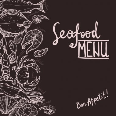 Hand Drawn Seafood Menu