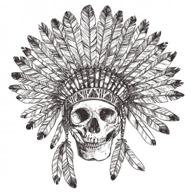 Native American Indian Headdress With  Skull