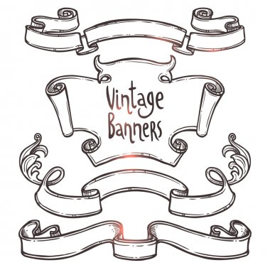 vintage ribbons banners