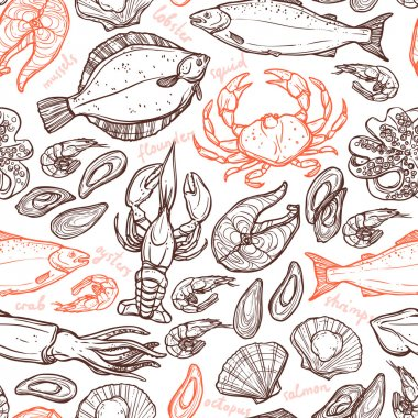 Pattern with hand drawn  seafood