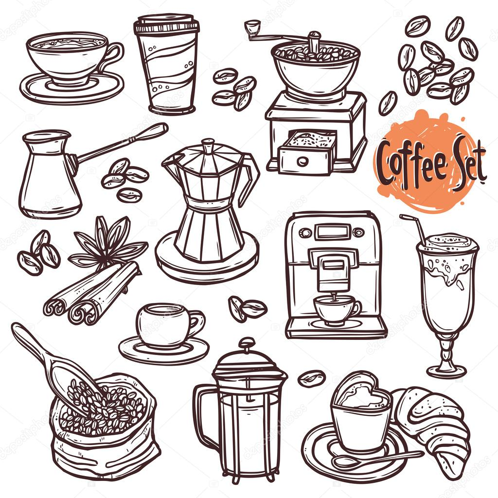 hand drawn coffee set