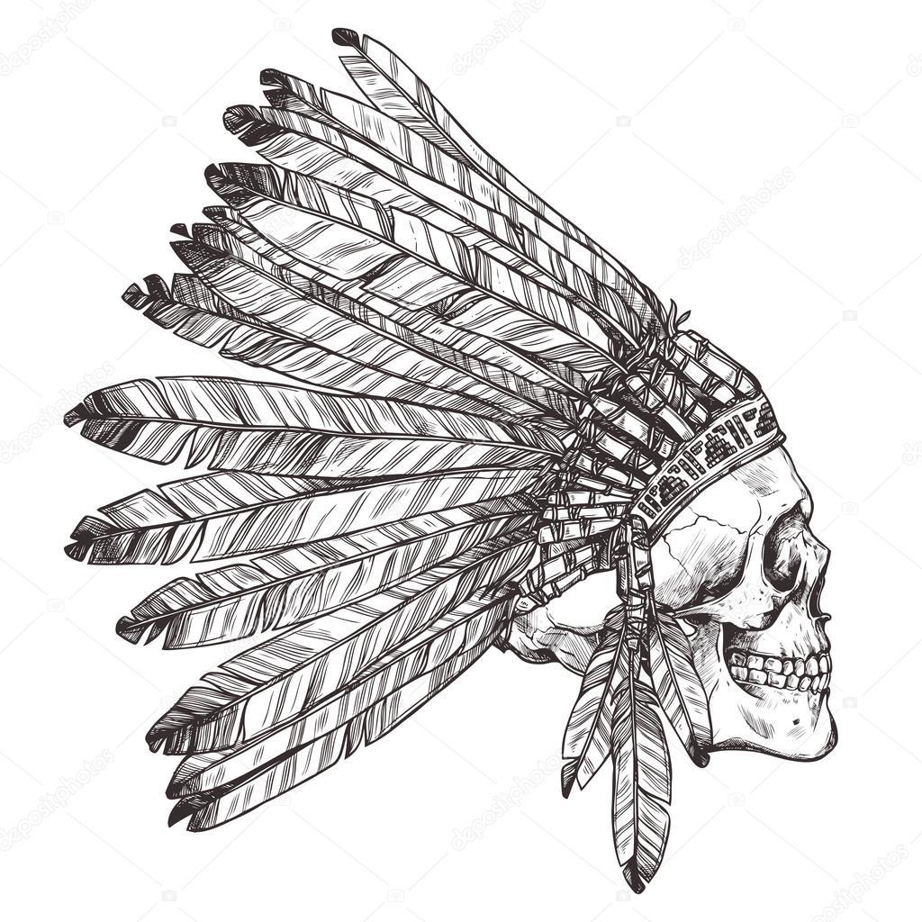 Dibujado a mano tocado indio nativo americano con cráneo humano. Vector  ilustración monocroma de jefe Tribal indio sombrero de plumas y calavera —  Vector de ... 00178696a53