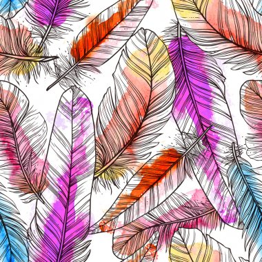 Seamless pattern with hand drawn feathers with watercolor splatters stock vector