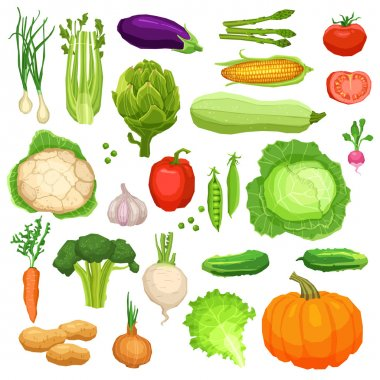 Set Of Flat Fresh Vegetables