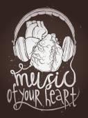 Hudba plakát s anatomickou srdce