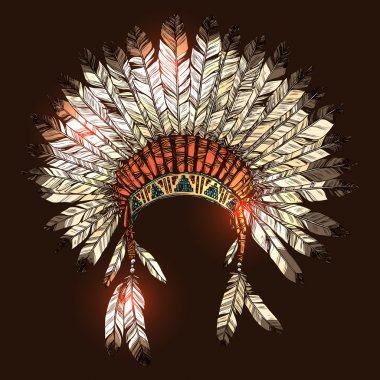 Vector Color Illustration Of Hand Drawn Native American Indian Headdress stock vector