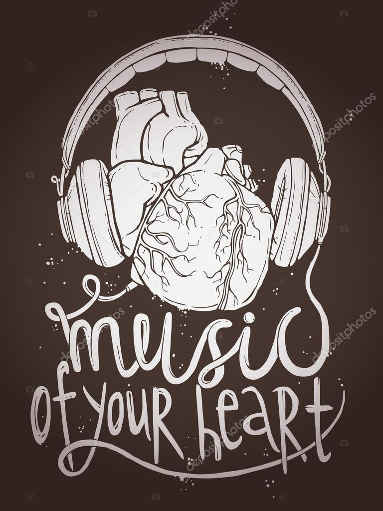 Music Poster With Anatomical Heart