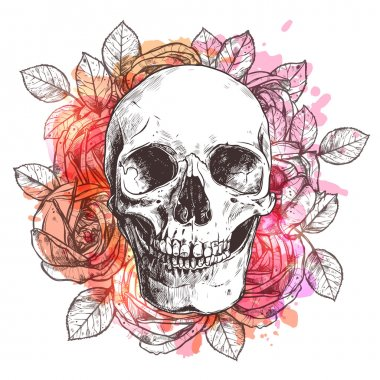 Watercolor Skull And Flowers