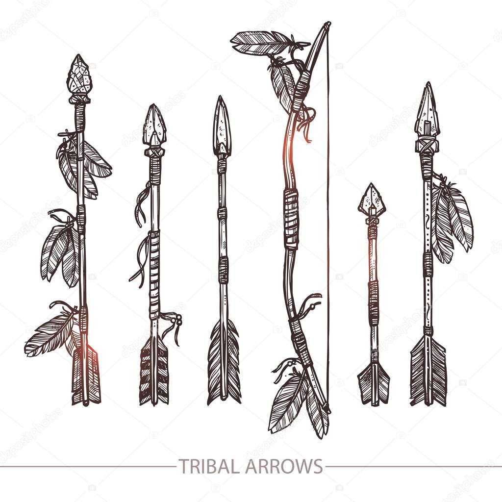 Indian Arrows And Bow Set — Stock Vector © alexrockheart