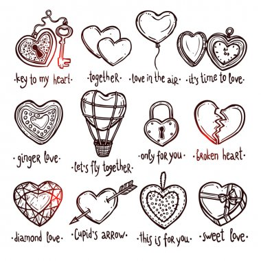 Love And Valentine Doodle Set.
