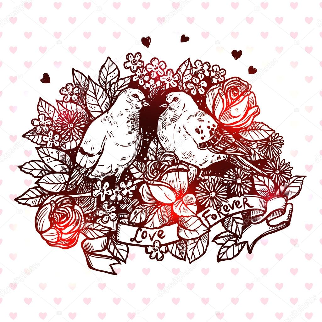 Valentines Day Card With Pigeons