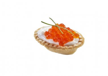 Red caviar in tartlet, isolated on white background