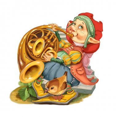 Elf plays congratulatory march on a french horn.
