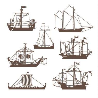 Set of vintage sailing ships