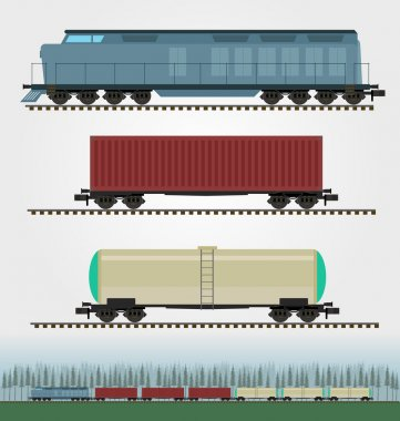 Set of freight train cargo cars. Container, tank, hopper and box freight train cars. Logistics heavy railway transport design elements. Flat style.