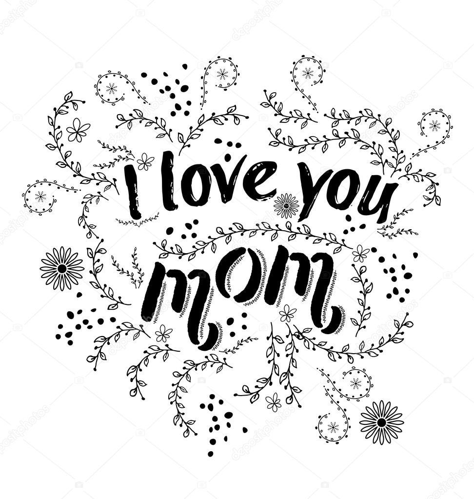 Hand gezeichneten karte mit zitat das ich liebe sie mama und floral hand gezeichneten karte mit