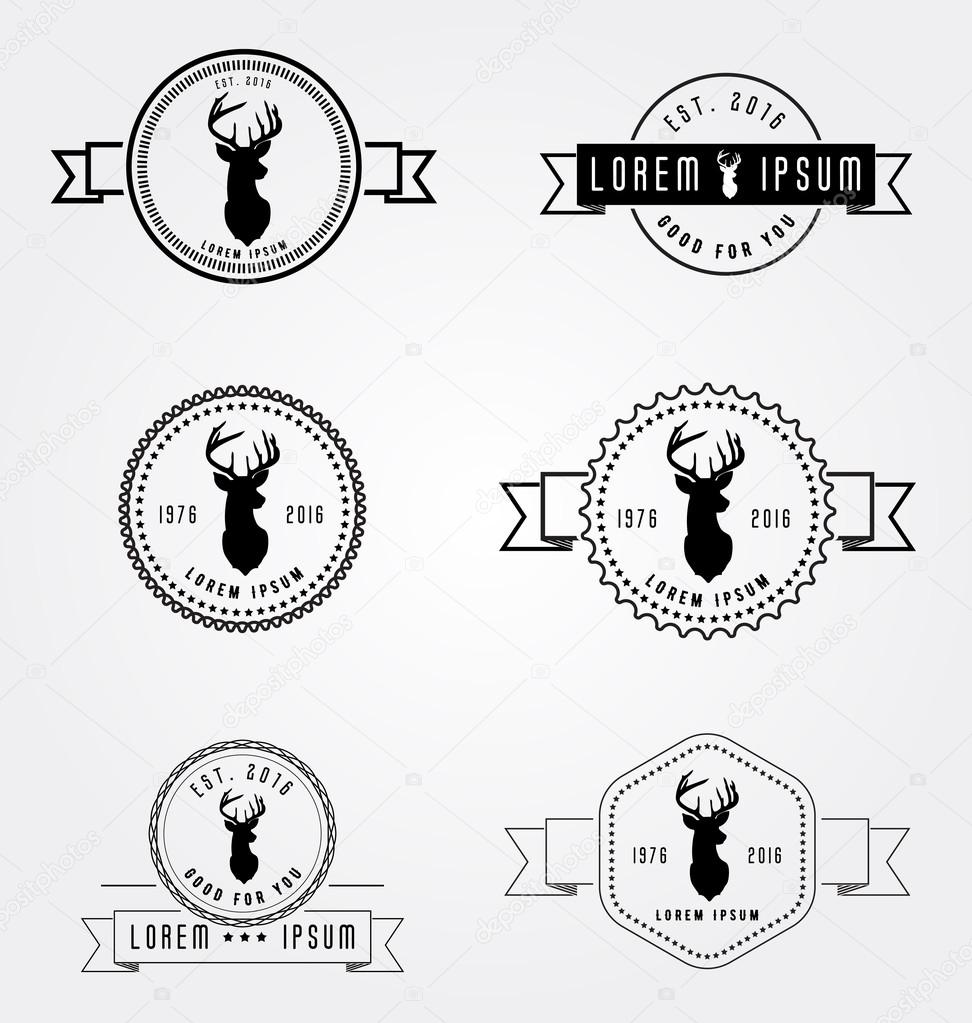 Satz von Abzeichen-Etiketten-Hipster-Logo. Vektor-Illustration ...