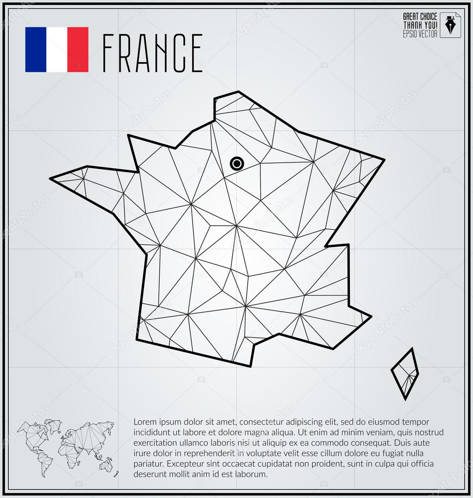 France map in geometric polygonal style. Polygonal abstract world ...