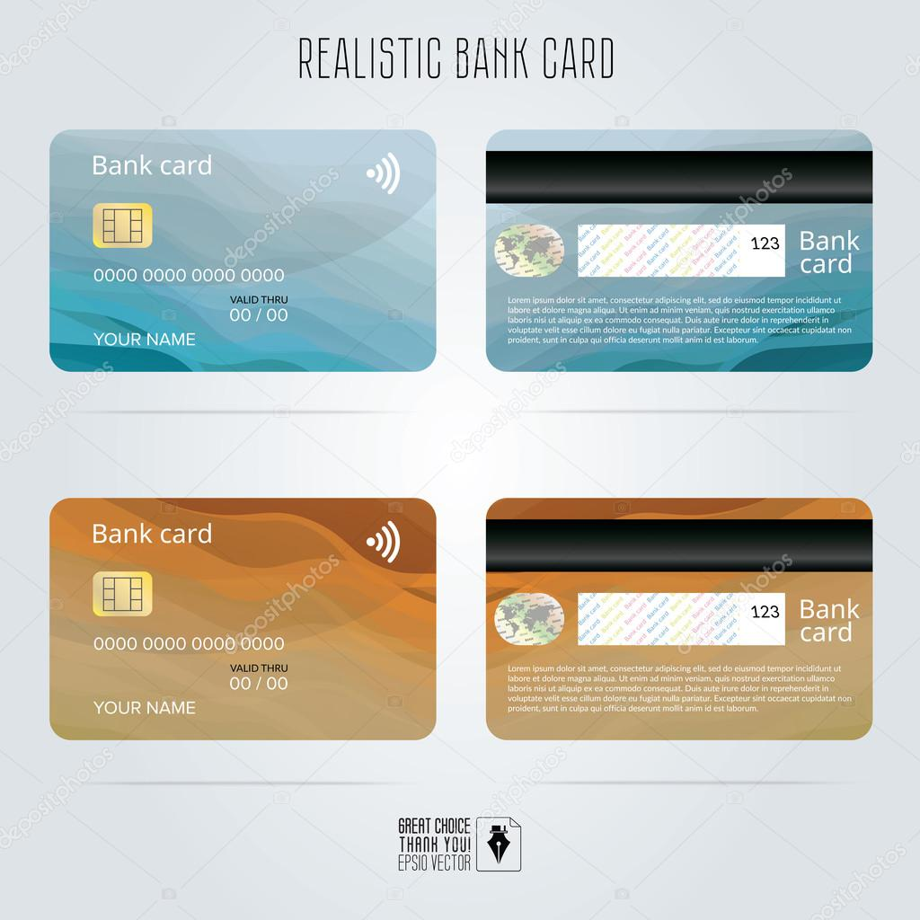 Credit card. Two sides. Colored wave backgrounds. Template vector ...