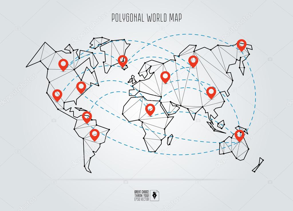 Polygonal abstract world map vector illustration abstract global polygonal abstract world map vector illustration abstract global connection structure continents connected with gumiabroncs Images