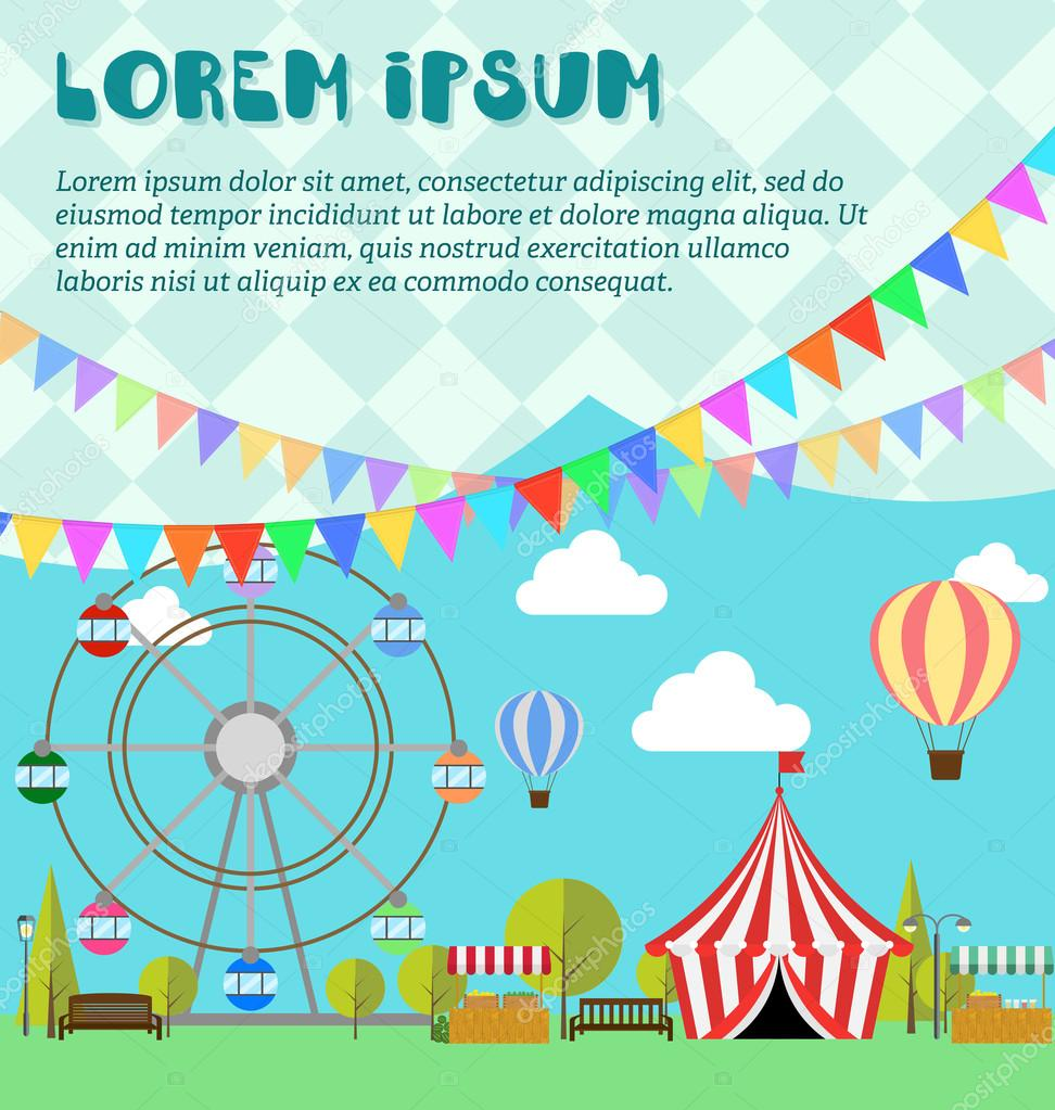 Amusement park, ferris wheel, festival, carnival, balloon. Tent on the market. Farm products, lemonade, lemons in wooden box. Flat illustration vector. Concept for invitations, cards. Flags outdoor.