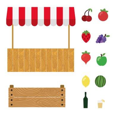 Market tent with white and red striped. Market stall, wooden box, cherry, tomato, strawberry, grape, radish, green apple, lemon, watermelon, wine, lemonade.